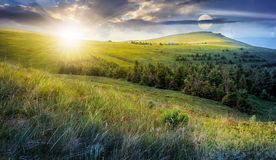 Day and night change in high mountain landscape. Day and night time change. high mountain idyllic landscape. grassy meadow with forest on hillside. epic nature Royalty Free Stock Photography