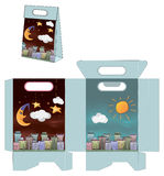 Day and night city. Handbag packages pattern Stock Image