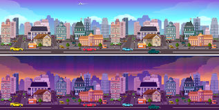 Day and night city Panorama Stock Image