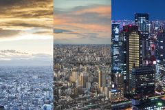 Day and night city view background Stock Photos