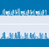 Day and night. Cityscape background, urban art. Vector illustration Stock Image
