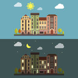 Day and Night Cityscape Vector landscape Stock Image