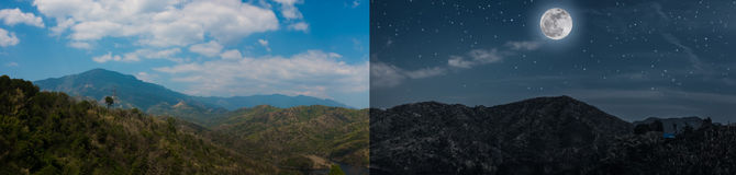 Day and night concept of summer landscape panoramic image of mountains. Under beautiful sky. Series time in forest with full moon, clouds and many stars. The stock image