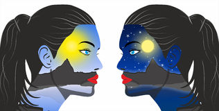 Day and night concept in the women face Stock Photo