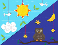 Day and Night. Cute vector illustration that represents day and night scene. Eps10 Stock Photos