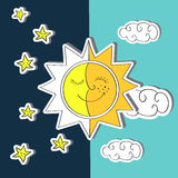Day and night. Doodle vector illustration of sun, moon Royalty Free Stock Images