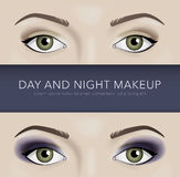 Day and night eye makeup background Royalty Free Stock Photo