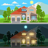Day and night house illustration Royalty Free Stock Photos