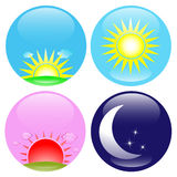 Day and night icons set. Glossy buttons with day, night, sunrise and sunset icons Royalty Free Stock Image