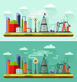 Day and Night illustration of oil extraction. Flat design vector Day and Night illustration of oil extraction industry. Including rig, pumping station, storage stock illustration