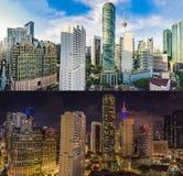 Day and Night. Kuala Lumpur skyline, view of the city, skyscrapers with a beautiful sky. Kuala lumpur cityscape. Panoramic view of Kuala Lumpur city skyline stock photo