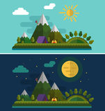 Day and night landscapes. Flat design nature landscape illustration with alpinist or climber and camping, sun, hills, mountains, moon and clouds. Day and night Stock Photos