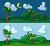 Day and night landscapes Stock Photo
