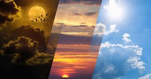 Day and night, light and darkness, sun and moon stock photo