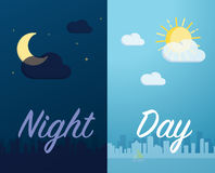 Day and night mode cityscape background and component vector Stock Image