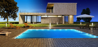Day and Night Modern house Stock Photo
