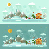 Day and Night nature winter landscapes Stock Photography