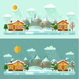 Day and Night nature winter landscapes. Flat design vector Day and Night nature winter landscapes illustration with village, sun, mountains, moon, star, bird Stock Photos