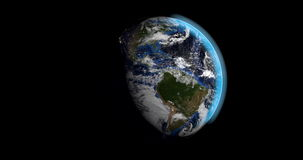 Day in night in planet earth. Animation of planet earth rotating while day and the night passing in american continent stock footage