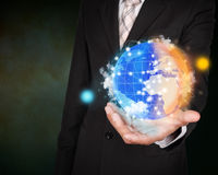 Day and night planet system concept on business hand Stock Photo