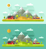 Day and Night rural landscapes Stock Photo