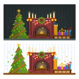 Day and night scenes. Fireplace and fir tree with gifts, Christm. As and New Year holidays. Home comfort and coziness. Family gathering. Flat design vector Royalty Free Stock Image
