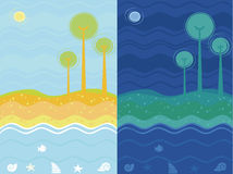 Day and night sea background Royalty Free Stock Images