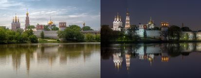 Day and night series: Novodevichy Convent. Also known as Bogoroditse-Smolensky monastery, Moscow. This is two high dynamic range HDR photos of same location Royalty Free Stock Photography
