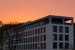 Day and night series of office facades Royalty Free Stock Photography