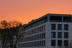 Day and night series of office facades Stock Images
