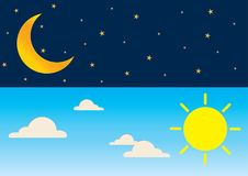Day and night series time concept with sun, super moon, clouds a. Beautiful sky background. Vector illustration of day and night series time concept with sun Stock Image