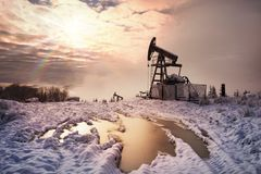 Oil production in the winter on Mount Synechka Royalty Free Stock Photography