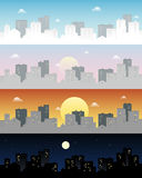 Day and night skyline town vector clip art Stock Images