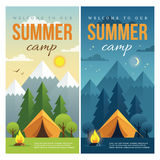 Day and night summer camp banners. Day and night landscape illustrations with mountains, trees, tent and campfire in flat style. Vertical web banner for summer royalty free illustration