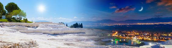 Day and night, sun and moon collage of Pamukkale, Turkey stock photos
