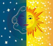 Day and night. Sun and moon with faces Royalty Free Stock Photography