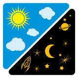 Day and night sun and moon  illustration Stock Photos