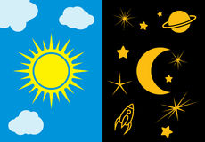 Day and night sun and moon vector illustration Stock Photo