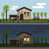 Day and night townhouse landscape Royalty Free Stock Images