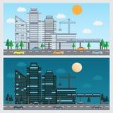 Day and night urban city Royalty Free Stock Photos