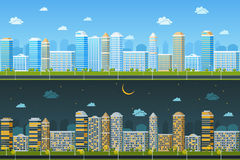 Day and night urban landscape Royalty Free Stock Photos