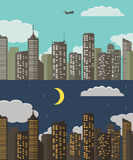 Day and night Urban Landscape. Summer City Background.  Vector Illustration Stock Images