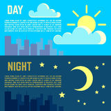 Day and night vector banners flat sun moon symbols Royalty Free Stock Images