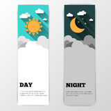 Day and night vector banners isolated Royalty Free Stock Photos