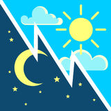 Day and night vector contrast concept with sun moon flat icons. Day and night vector contrast concept with sun and moon flat icons. Cycle light and dark in Vector Illustration