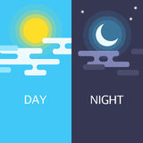 Day and night vector flat illustrations Royalty Free Stock Photo