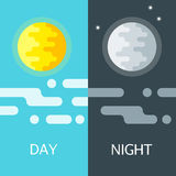 Day and night vector illustrations or banners. Stock Images