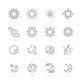 Day and night vector line icons Stock Image