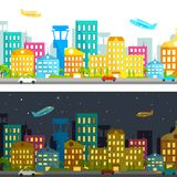 Day and Night View. Illustration of day and night view of city infrastructure stock illustration