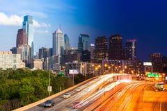 Day and Night view of Philadelphia skyline - USA Stock Image